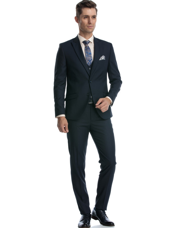 Costum slim fit cu vesta bleumarin