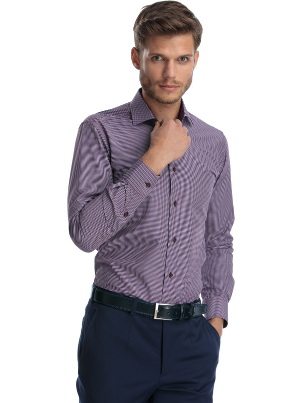 Camasa casual slim fit in carouri bordo