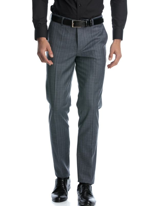 Pantaloni stofa slim fit in carouri gri