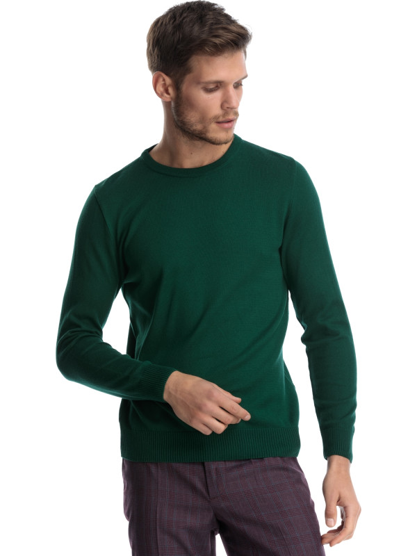 Pulover slim fit verde