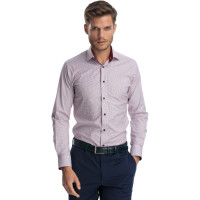 Camasa alba cu imprimeuri bordo slim fit