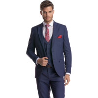 Costum cu vesta slim fit mov pepit