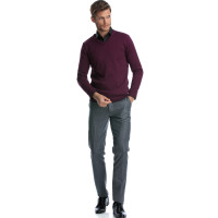 Pulover mov cu anchior slim fit