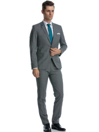 Costum slim fit gri cu caro turcoaz